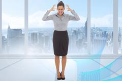 Composite image of frustrated businesswoman shouting - stock illustration