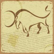 Vintage postikortti siluetti buffalo Piirros