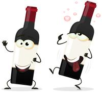 Happy and drunk red wine bottle character Stock Illustration