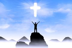 Christian background: man worshiping god Stock Illustration