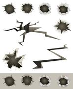 bullet holes, cracks and slashes set - stock illustration