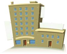 Cartoon shop building with apartments and banners Stock Illustration