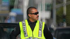 Traffic officer in Los Angeles Downtown, California Stock Footage