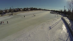 People enjoy skating on the world's largest skating rink. Stock Footage