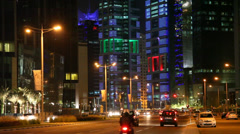 Doha downtown at night. Qatar Stock Footage