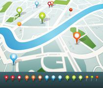 street map with gps pins icons - stock illustration