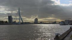 View of Nieuwe Maas + Erasmus Bridge, City of Rotterdam Stock Footage