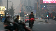 Wangfujing shopping street busy  intersection, Beijing, China Stock Footage