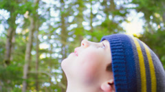 A cute little boy stares up at the sky through tall trees in the forest Stock Footage