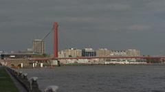Rotterdam City, Bridge, Nieuwe Maas, Noordereiland + bridge Koningshavenbrug Stock Footage