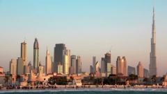 4K (4096x2304) Timelapse: Sand storm in Dubai downtown, Burj Khalifa, UAE Stock Footage