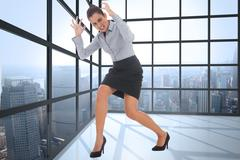 Stock Illustration of Composite image of furious businesswoman gesturing
