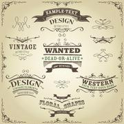 Hand drawn western banners and ribbons Stock Illustration