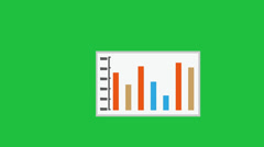 Animated Bar Chart:  Green Screen + Looping Stock Footage