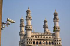 Surveillance camera observing mosque Stock Photos