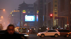 City smog and pollution night time  Wangfujing shopping street Beijing, China Stock Footage