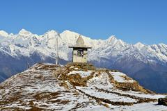 Gompa on a peak in Himalaya mountains Stock Photos