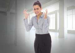 Composite image of frustrated businesswoman shouting Stock Illustration