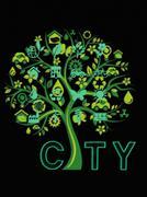 eco conservation city conceptual tree design - stock illustration
