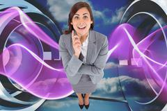 Composite image of smiling thoughtful businesswoman - stock illustration