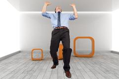 Composite image of businessman posing with arms up - stock illustration