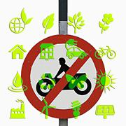 Stock Illustration of no motor bike vehicles sign, use alternative energy concept