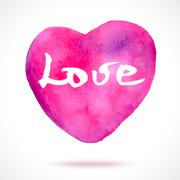 Watercolor hand painted pink heart - stock illustration