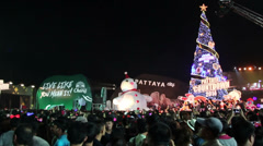 Crowd of people at the show New Year celebration Stock Footage