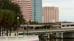 Downtown Tampa traffic in slow motion Stock Footage