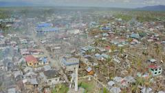 Aerial of destroyed city after Haiyan Stock Footage
