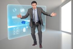 Stock Illustration of Composite image of businessman standing with arms out
