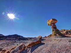 balanced rock badlands colorado plateau - stock photo