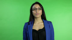 Business woman isolated on green screen Stock Footage
