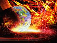 save earth, fire concept - stock illustration