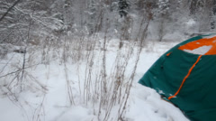 winter, tourist camping tent dismantle - stock footage