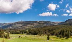 Panoramic view of karkonosze mountains Stock Photos