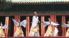 Female Chinese dancers performing China, slow motion - stock footage