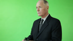 Senior caucasian business man green screen confident binoculars Stock Footage