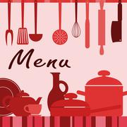 Kitchenware and cooking process Stock Illustration