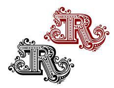Vintage letter r Stock Illustration