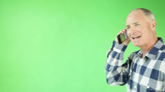 Senior casual caucasian man isolated green screen Stock Footage
