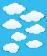 Set of white clouds in the blue sky Stock Illustration