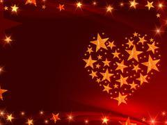 golden stars like heart - stock illustration