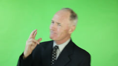 Senior caucasian business man green screen fingers crossed Stock Footage