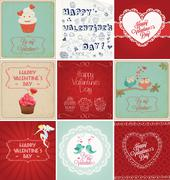 valentine's day cards collection - stock illustration