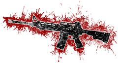 Assault rifle with blood stains Stock Illustration