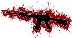 Rynnäkkökivääri kanssa veritahroja Piirros