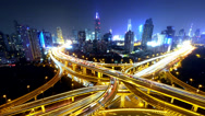 Stock Video Footage of Time lapse busy urban traffic with streaking lights trail at night,shanghai.