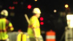 Night work crews out-of-focus MS Stock Footage