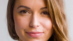 Close Up of Adorable Woman, She Smiling at Camera - stock footage